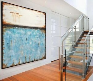 48 x 48 BLUE ORIGINAL LARGE MODERN ABSTRACT ART CANVAS PAINTING L. Beiboer $875.00
