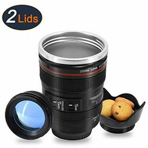 Coffee Mug With Transparent Lid Camera Lens Cup Stainless Steel Caniam 24-105mm