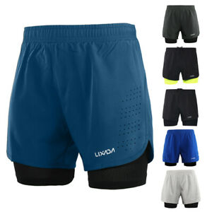 Lixada Mens 2-in-1 Running Shorts Quick Drying Breathable Pants with Liner F5S4
