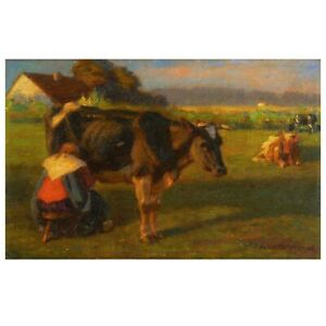"""Milking Time"" Antique Austrian Cow Landscape Oil Painting by Albert Reibmayr"