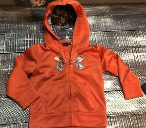 Boys Under Armour Outfit Sz 24 Months Orange Camo Detail Zip Up Jacket Hoodie $29.99