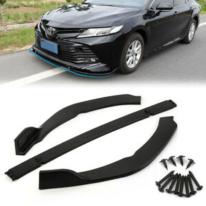 Black Front Bumper Lip Protect Cover Trim For Toyota Camry 2018 2019 SE/XSE 3pcs