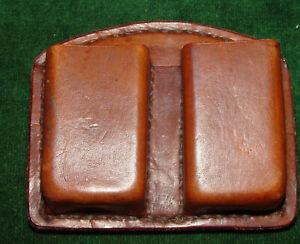 Custom Brown Leather Double Magazine Pouch for Double Stack Mags.