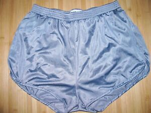 SOFFE Running Shorts LARGE Silky Nylon SILVER GRAY with Matching LINER