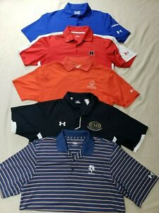 NICE LOT 5 UNDER ARMOUR GOLF POLO MENS SHIRTS M POLYESTER