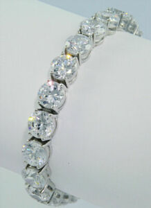 20Ct Brilliant Round Cut D VVS1 Diamond Tennis Bracelet 14K White Gold Over