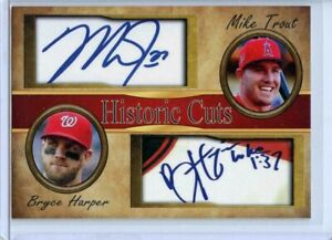 MIKE TROUT & BRYCE HARPER - 2017 HISTORIC CUTS DUO AUTOGRAPH CARD - SHIPS FREE