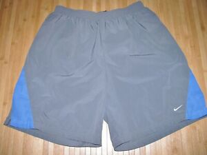 NIKE Shorts RUNNING Size LARGE Poly Spandex GRAY & BLUE w LINER & 7 Inch INSEAM