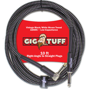 Gig Tuff Pro 10ft Right-Angle Guitar Bass Instrument Cord Woven Tweed 1/4 NEW