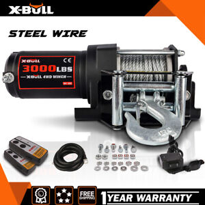 X-BULL 4500LBS Electric Winch 12V Synthetic Rope ATV UTV Winch Towing Truck 4WD