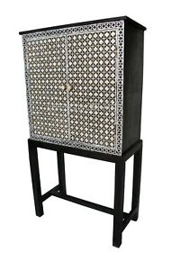 Indian Luxury Mother Of Pearl Moroccan Design Bar Cabinet