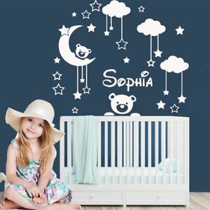 Night Name Wall Sticker Girls Kids Bedroom Decoration Personalized Wall Decal