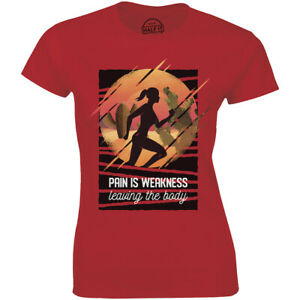 Pain Is Weakness Leaving The Body With Running Lady Women's T shirt Gift Tee $17.88