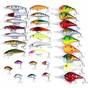 30pcs Fishing Lures Kit Mixed Including Minnow Popper Crank Baits With Hooks