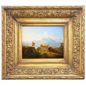 GERMAN MOUNTAINSCAPE PAINTING  Antique Oil Painting of Hiker Cows