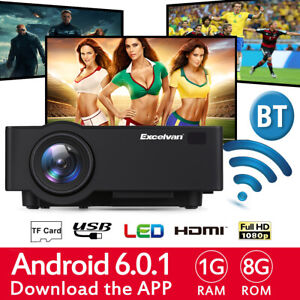 4K LED Projector 1080P Home Theater Cinema Android 6.0 8GB Wifi 100'' Screen USB