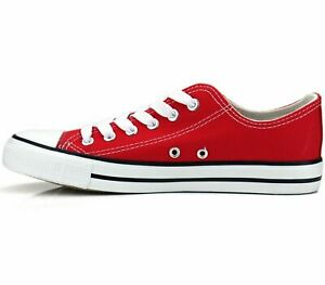 New Womens Shoes Low Top Canvas Suede Fashion Sneakers Sport Red Casual Size 6 $17.84