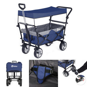 OUTDOOR FOLDING WAGON CANOPY GARDEN UTILITY CART W/ BRAKE PUSH & PULL HANDLE