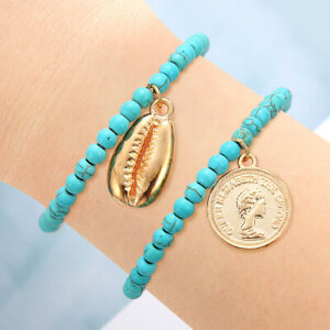Bohemian Simple Beaded Shell Blue Turquoise Bracelets Anklet Adjustable Bracelet