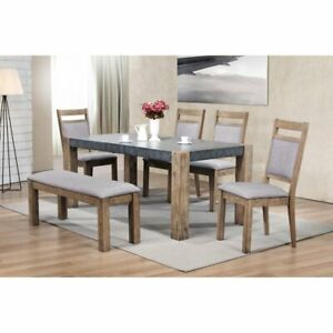 Roundhill Furniture Costabella 6 Piece Two-Tone Butterfly Leaf Dining Table Set