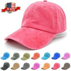 Baseball Cap Mens Cotton Dad Hats Washed Ball Cap Polo Style Solid Adjustable $6.99