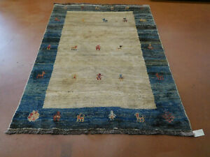 Wonderful Gabbeh rug 6.9 x 9.9 wonderful  thick carpet natural dyes deer
