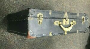 Vintage  Black Steamer Trunk. Antique Luggage with flat top