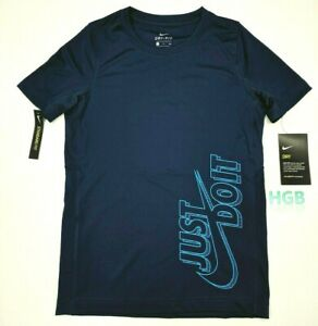 Nike Dry Just Do it Activewear Top Boys Blue Shirt Dri-Fit Gym 939669-478 NWT