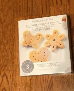3  Williams Sonoma  Silicone Pancake Molds Butterfly Heart Flower 2014