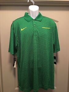 NWT Mens Nike XL Oregon Ducks Dri Fit Green Striped Polo $25.29
