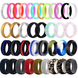 Flexible Silicone Wedding Ring Men Women Engagement Sport Rubber Band Size 4 14