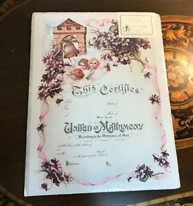 """Certificate Marriage Matrimony Stone Lithograph Repro Victorian Antique 12""""x16"""""""