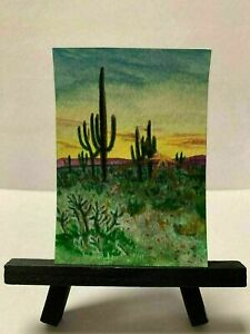 ACEO Nevada Desert Nature original hand painted with watercolor listed by artist