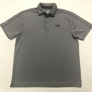 Under Armour Men's Size Large L Heatgear  gray golf athletic polo shirt SS
