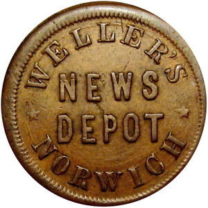 Norwich New York Civil War Token Weller's News Depot IOU