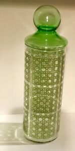 """Vintage Green Chinese Wicker Etched Glass Canister Apothecary Jar Lid 12"""" Tall"""