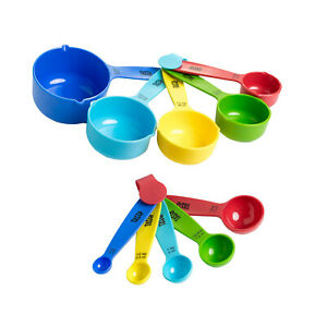 Tasty 10 PC MEASURING SET: 5 SPOONS amp; 5 CUPS 1 8 1 4 1 3 1 2 1 Tsp Tbsp Cup HQ $13.98