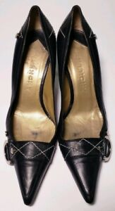 GIVENCHY Designer Black Leather Pointed Toe Heels Classic Shoes Size 6 36.5 $56.00