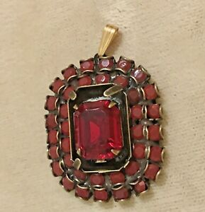 Liz Palacios Necklace Garnet Ruby Pendant Swarovski Element Antique Victorian LK
