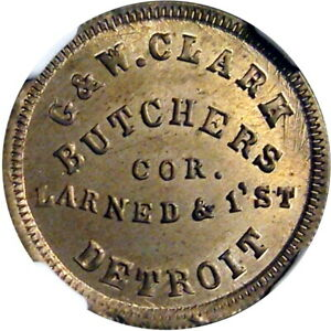 Detroit Michigan Civil War Token Clark Butchers R9 COPPER NICKEL NGC MS65