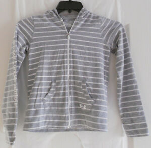 Under Armour Girls Heatgear Loose Gray Striped Hoodie YLG Youth Large Full Zip