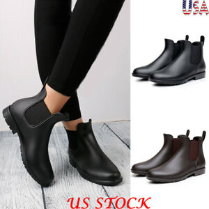Women Fashion Casual Chelsea Low Heel Ankle Boots Waterproof Slip On Rain Shoes