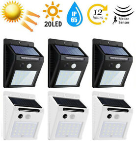 20 LED Outdoor Solar Power Motion Sensor Wall Light Waterproof Garden Yard Lamp