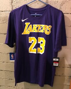 LA Lakers Lebron James Dri-Fit Purple Nike Jersey T-shirt AR4887-557 NEW LARGE