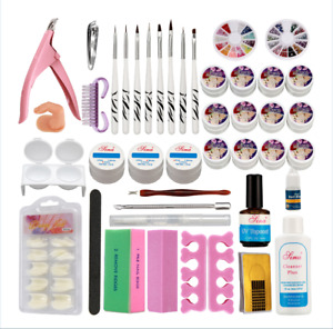 Nail Art 12 Color UV Builder Gel Brush Pen Nail Tips Top Coat Full Tool DIY USA $30.16