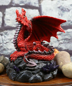 Red Dragon Backflow Incense Cone Burner Figurine Home Decor Statue 6.25quot;H