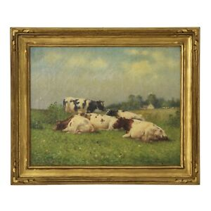 PASTORAL COW PAINTING  Antique Oil Landscape Painting by Frank Russell Green