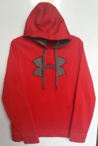 Under Armor Red Big Logo Therma Pullover Sweatshirt Hoodie Red Gray Sz M