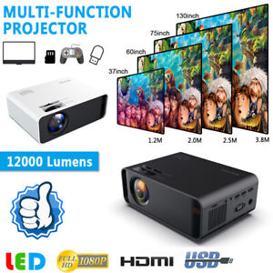 12000 Lumens 1080P HD LED Projector 3D Home Theater Cinema HDMIVGAUSBTV 3.5MM