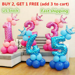 Number Foil Balloons Set Giant Digit Happy Birthday Party Decor Baby Shower US